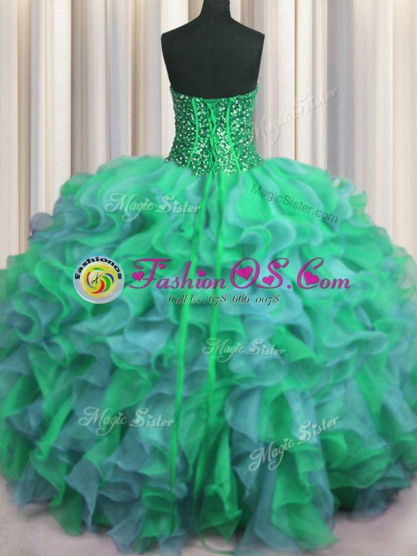Dynamic Visible Boning Beaded Bodice Sleeveless Floor Length Beading and Ruffles Lace Up Quinceanera Gowns with Multi-color