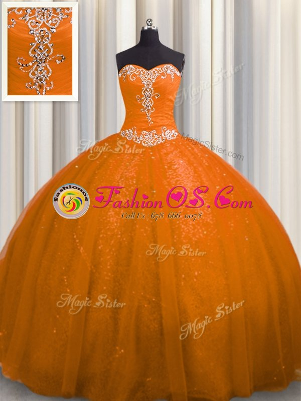 Three Piece Visible Boning Multi-color Ball Gowns Beading and Ruffles and Ruffled Layers and Sequins Quinceanera Dresses Lace Up Tulle Sleeveless Floor Length