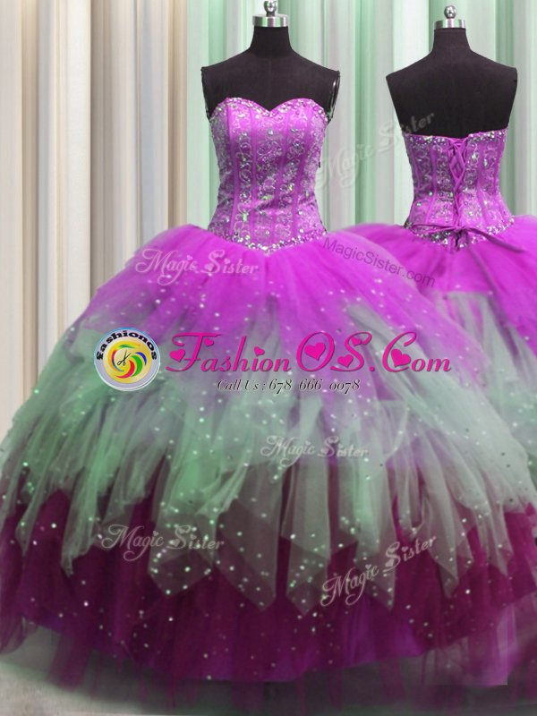 Latest Multi-color Sweetheart Neckline Beading and Ruffles Sweet 16 Quinceanera Dress Sleeveless Lace Up