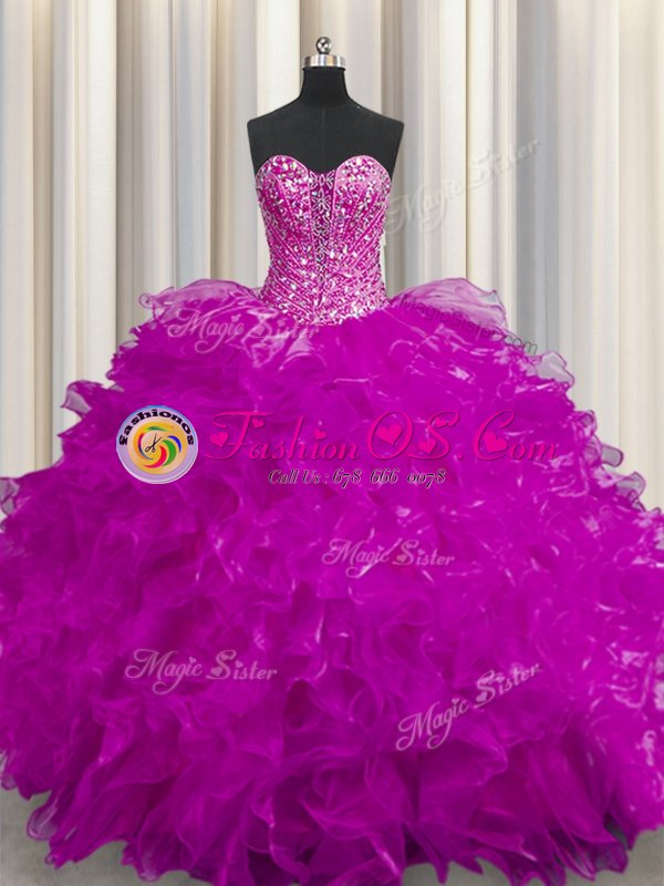 See Through Ball Gowns 15 Quinceanera Dress Fuchsia Sweetheart Organza Sleeveless Floor Length Lace Up