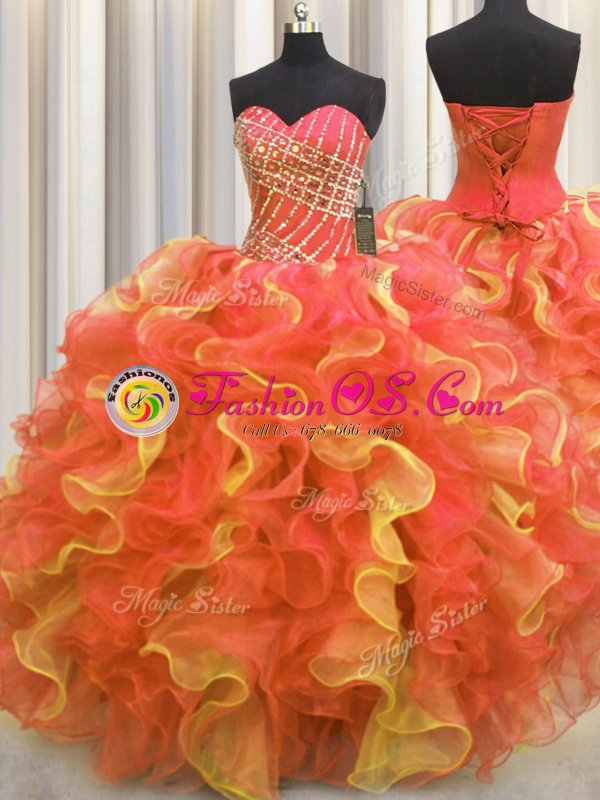 Sweetheart Sleeveless Organza Sweet 16 Quinceanera Dress Beading and Ruffles Lace Up