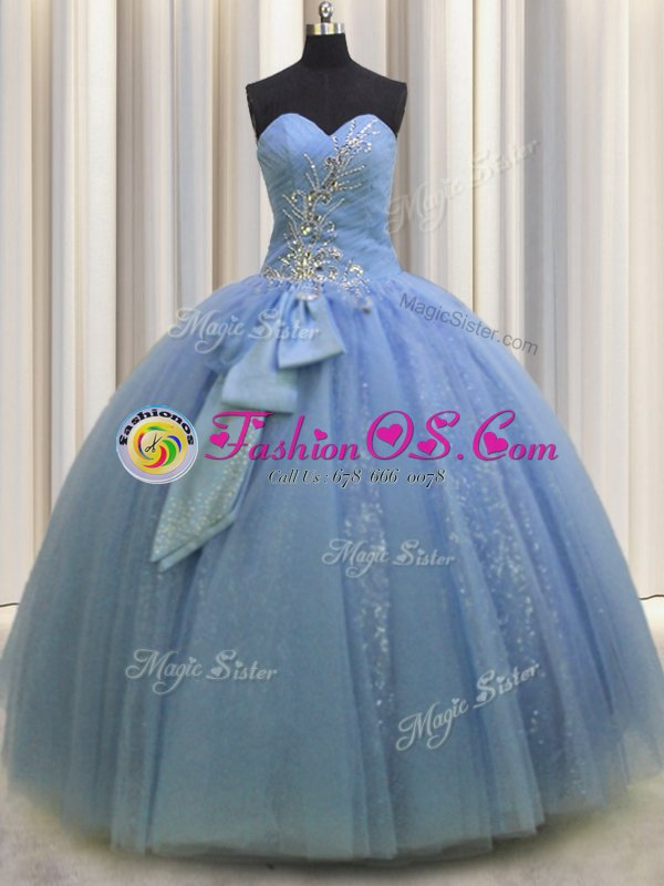 Light Blue Lace Up 15 Quinceanera Dress Beading and Sequins and Bowknot Sleeveless Floor Length