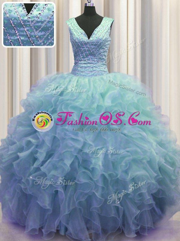 V Neck Zipper Up Sleeveless Floor Length Ruffles Zipper Quinceanera Dress with Baby Blue