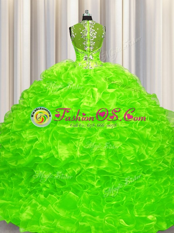 Sexy Pick Ups Zipper Up See Through Back Organza Zipper Ball Gown Prom Dress Sleeveless With Brush Train Beading