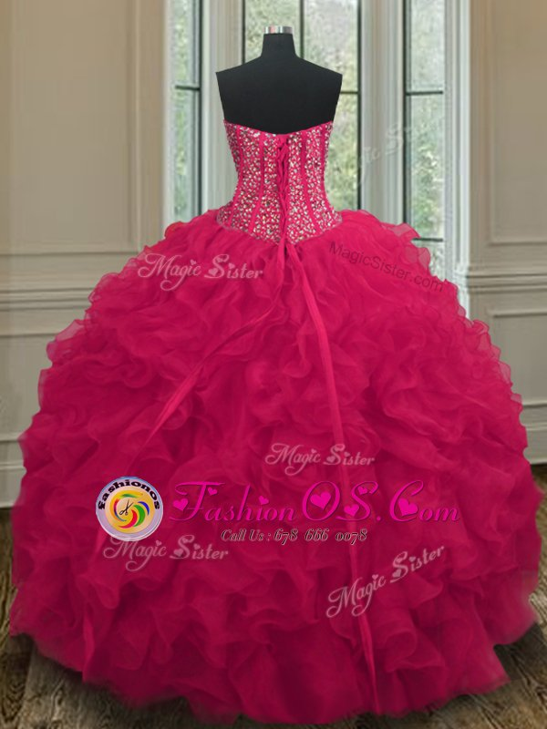 Coral Red Lace Up Sweetheart Beading and Ruffles 15th Birthday Dress Organza Sleeveless