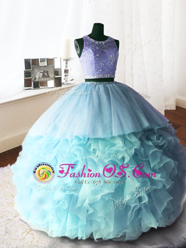 Scoop Organza and Tulle and Lace Sleeveless With Train Quince Ball Gowns Brush Train and Beading and Lace and Ruffles