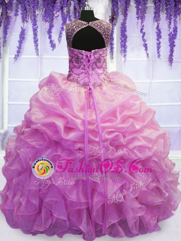 Pretty Lilac Ball Gowns Organza Scoop Sleeveless Beading and Pick Ups Floor Length Lace Up Sweet 16 Dress