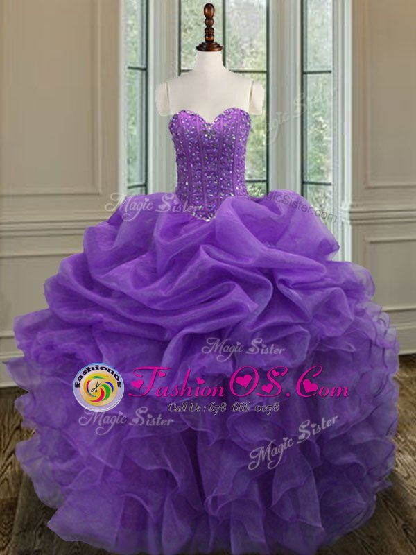 Glittering Sleeveless Tulle Floor Length Lace Up 15 Quinceanera Dress in Royal Blue for with Beading and Ruffles