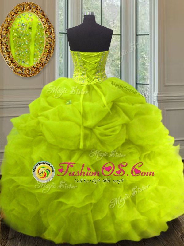 Attractive Sleeveless Beading and Ruffles and Pick Ups Lace Up 15th Birthday Dress