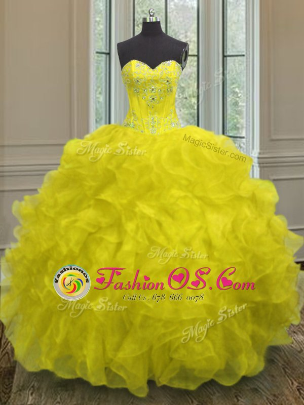 Yellow Lace Up Sweetheart Beading and Embroidery and Ruffles Vestidos de Quinceanera Organza Sleeveless