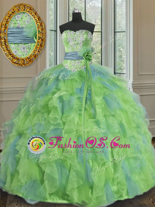 Classical Multi-color 15th Birthday Dress Military Ball and Sweet 16 and Quinceanera and For with Beading and Appliques and Ruffles and Sashes ribbons and Hand Made Flower Sweetheart Sleeveless Lace Up