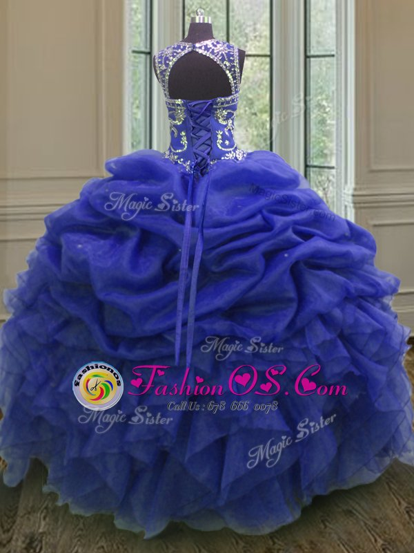 Edgy Royal Blue Scoop Neckline Beading and Ruffles and Pick Ups Quinceanera Gown Sleeveless Lace Up