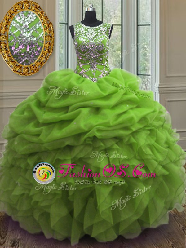 Great Organza Lace Up Scoop Sleeveless Floor Length Ball Gown Prom Dress Beading and Ruffles and Pick Ups