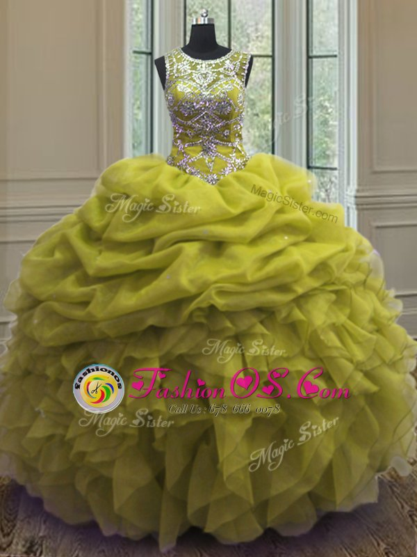 Scoop Sleeveless Quinceanera Gowns Floor Length Beading and Ruffles and Pick Ups Yellow Green Organza