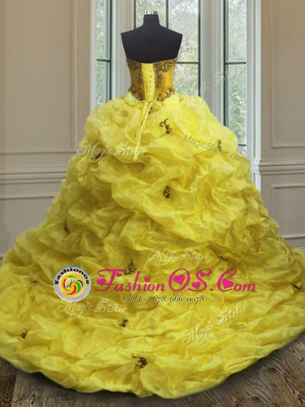 New Style Pick Ups Sweetheart Sleeveless Court Train Lace Up Quinceanera Gowns Light Yellow Organza
