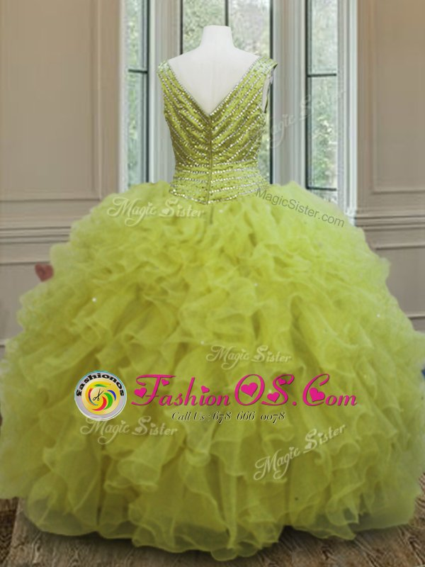 V-neck Sleeveless Organza Sweet 16 Quinceanera Dress Beading and Ruffles Zipper