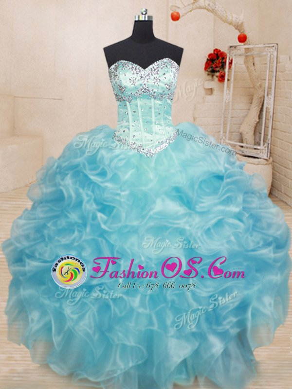 Aqua Blue Ball Gowns Beading and Ruffles Quince Ball Gowns Lace Up Organza Sleeveless Floor Length