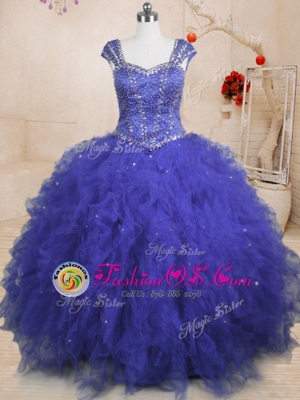 Delicate Royal Blue Ball Gowns Square Cap Sleeves Tulle Floor Length Lace Up Beading and Ruffles and Sequins Sweet 16 Quinceanera Dress