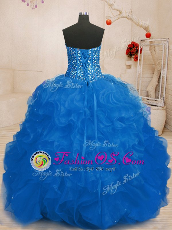 Flirting Organza Sweetheart Sleeveless Lace Up Beading and Ruffles Sweet 16 Quinceanera Dress in Blue
