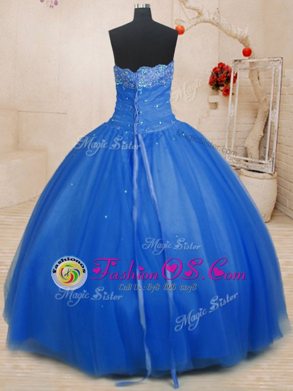Sleeveless Beading Lace Up Ball Gown Prom Dress