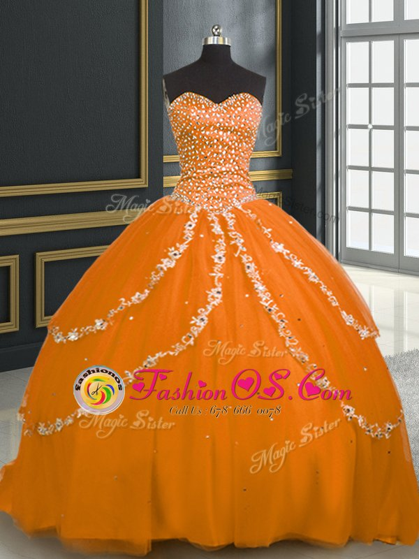 Customized Beading and Appliques Quinceanera Gowns Lavender Lace Up Sleeveless With Brush Train