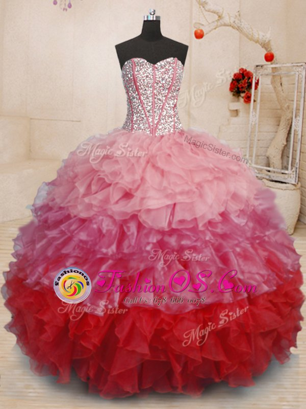 New Arrival White Sweetheart Lace Up Beading and Appliques Ball Gown Prom Dress Brush Train Sleeveless
