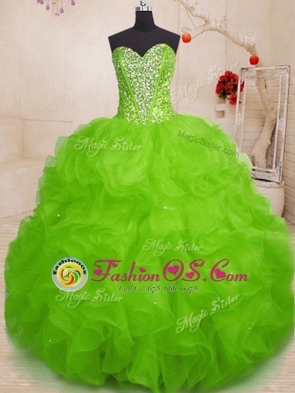 Luxury Sweetheart Sleeveless Lace Up Ball Gown Prom Dress Yellow Green Tulle