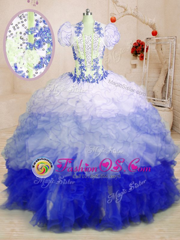 Multi-color Sleeveless Organza Brush Train Lace Up Quinceanera Dresses for Military Ball and Sweet 16 and Quinceanera