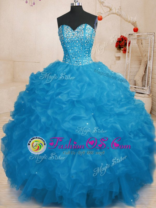 Organza Sweetheart Sleeveless Lace Up Beading and Ruffles Sweet 16 Quinceanera Dress in