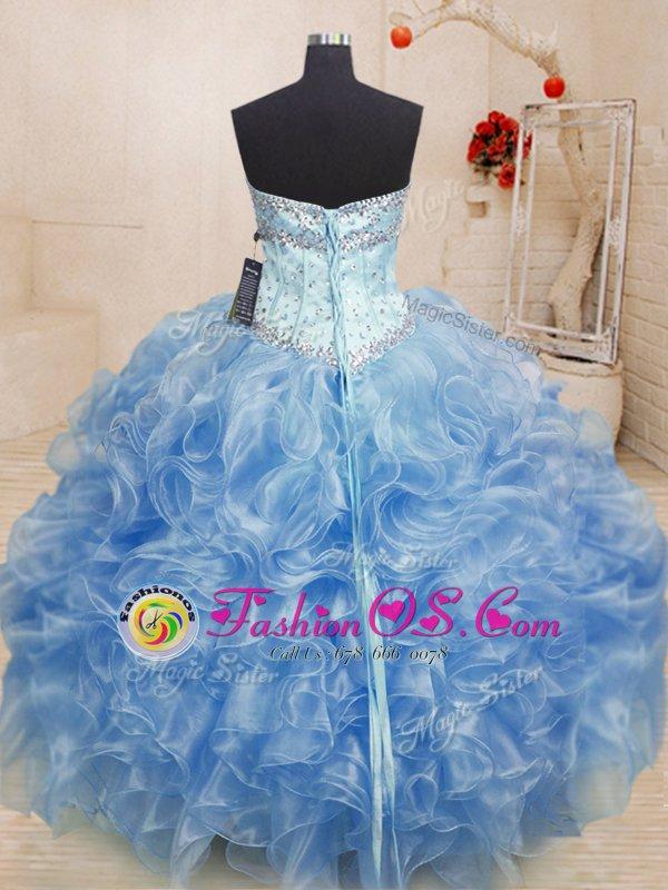 Ball Gowns Quinceanera Dress Light Blue Sweetheart Organza Sleeveless Floor Length Lace Up