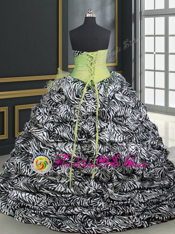Simple Printed Yellow Green Sweetheart Neckline Beading and Ruffles and Pattern Sweet 16 Quinceanera Dress Sleeveless Lace Up