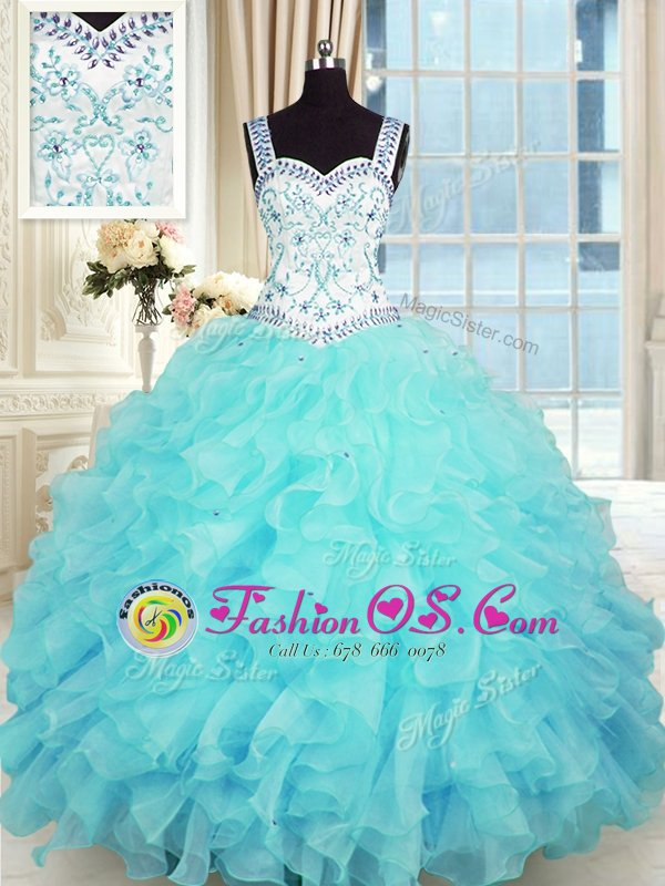 Sleeveless Lace Up Floor Length Beading and Appliques and Ruffles Sweet 16 Quinceanera Dress