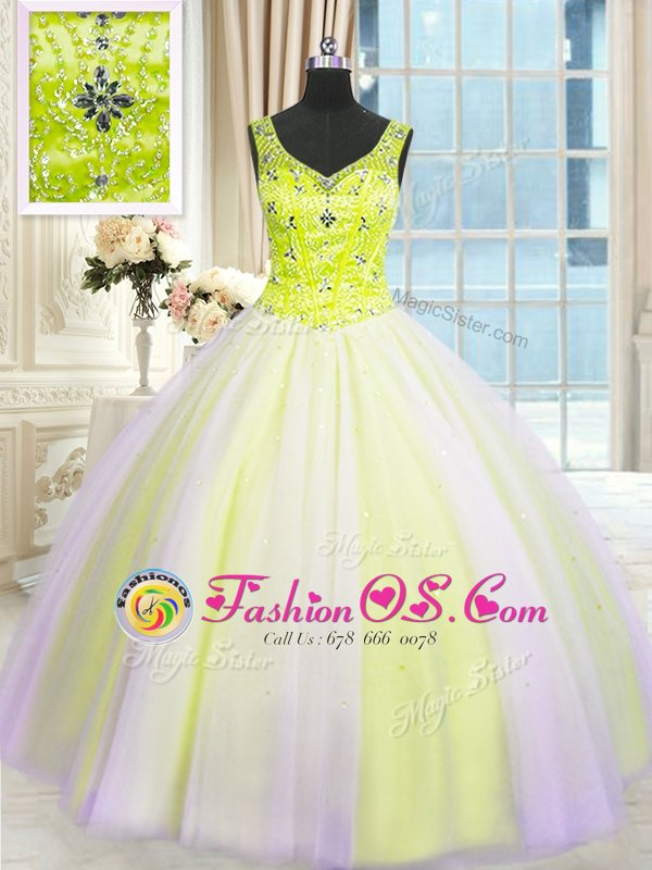 High Quality Multi-color Ball Gowns Tulle V-neck Sleeveless Beading and Sequins Floor Length Lace Up 15 Quinceanera Dress