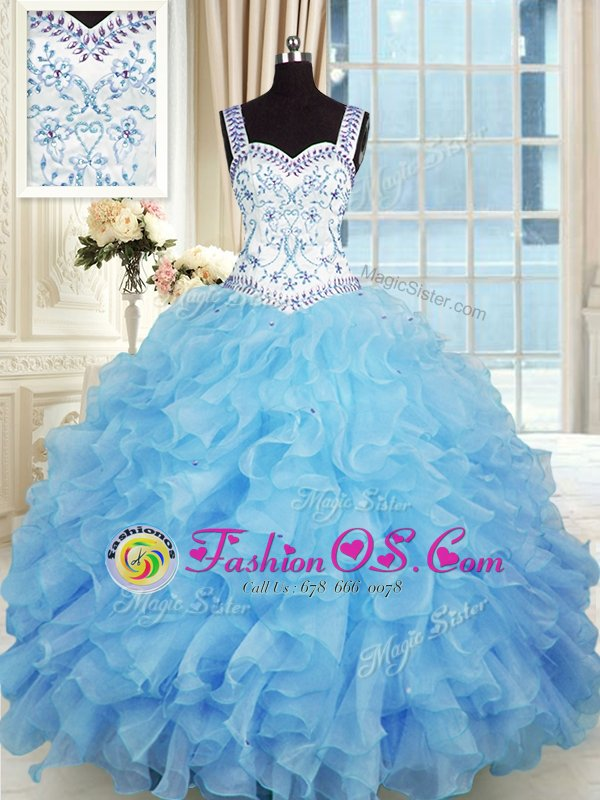 Adorable Floor Length Baby Blue Sweet 16 Dress Organza Sleeveless Beading and Appliques and Ruffles