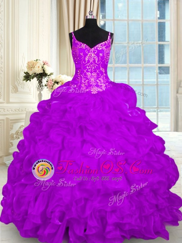 Custom Designed Organza Spaghetti Straps Sleeveless Brush Train Lace Up Beading and Embroidery and Ruffles Sweet 16 Quinceanera Dress in Purple