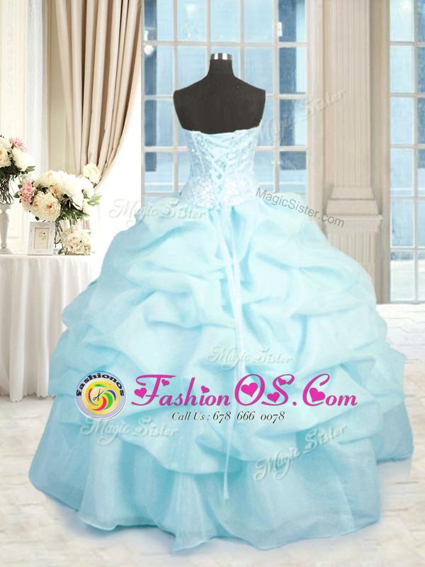 Sleeveless Organza Floor Length Lace Up Ball Gown Prom Dress in Baby Blue for with Beading and Ruffles