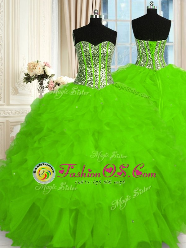 Flare Beading and Ruffles Quinceanera Gowns Lace Up Sleeveless Floor Length