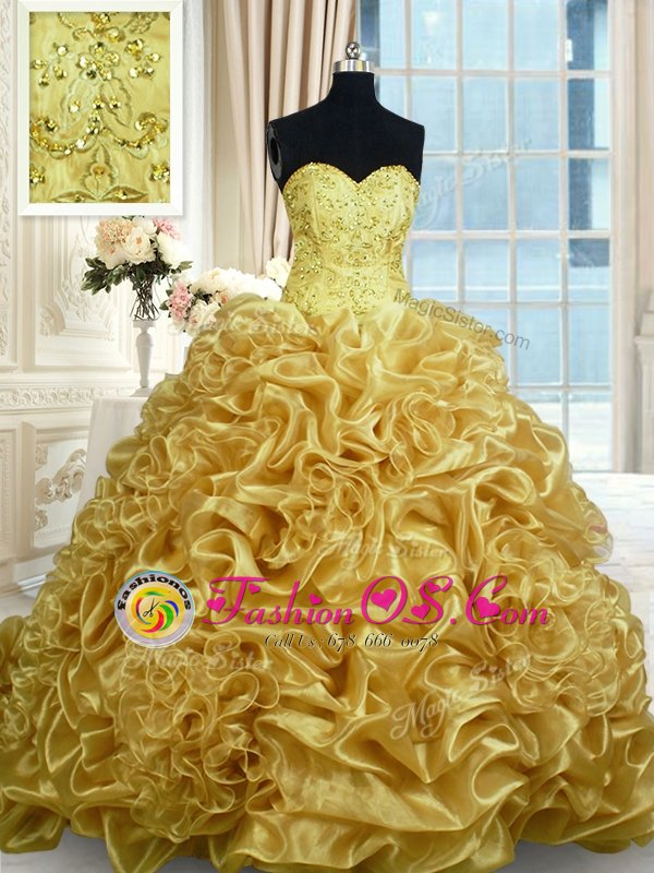 Sweetheart Sleeveless Sweet 16 Dresses Floor Length Beading and Ruffles Apple Green Organza