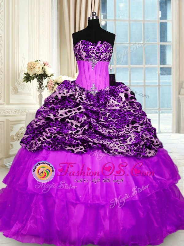 Low Price Printed Purple Sleeveless Beading and Ruffled Layers Lace Up 15 Quinceanera Dress