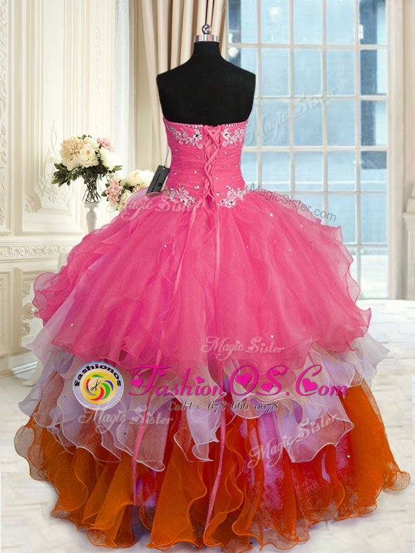 Customized Sleeveless Floor Length Beading and Ruffled Layers Lace Up Quinceanera Dress