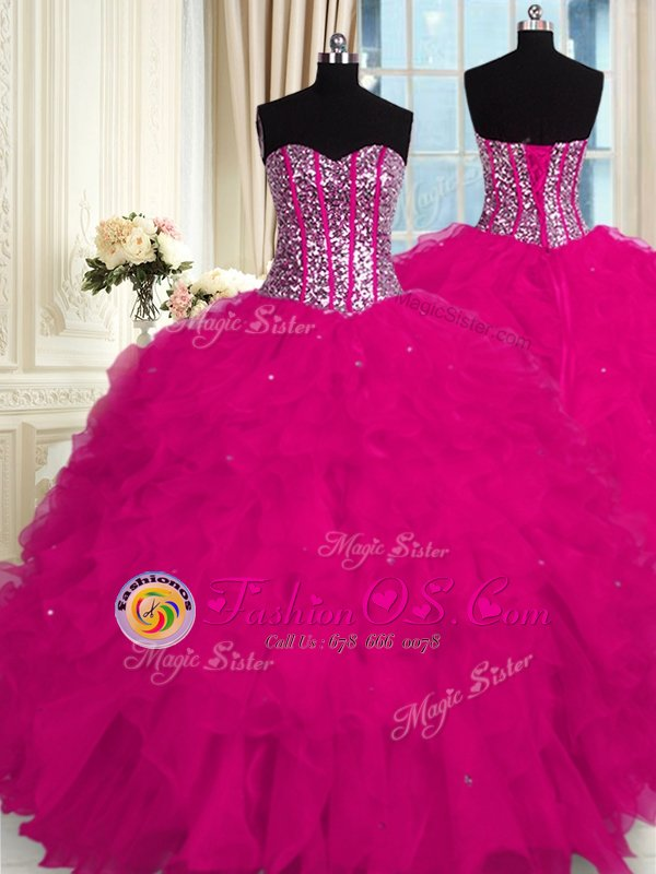 Organza Sleeveless Floor Length Vestidos de Quinceanera and Beading and Ruffles
