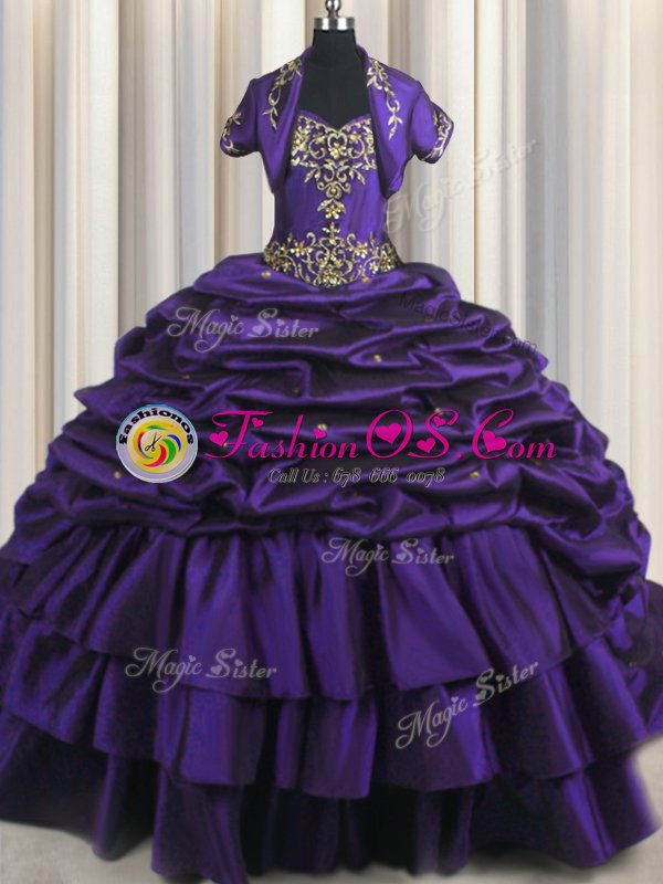 Low Price Purple Ball Gowns Taffeta Sweetheart Sleeveless Beading and Appliques and Pick Ups With Train Lace Up Vestidos de Quinceanera Brush Train