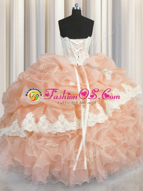 Best Floor Length Peach Sweet 16 Dresses Organza Sleeveless Appliques and Ruffles and Pick Ups