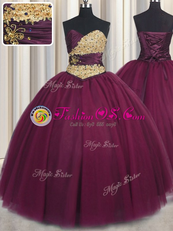 Perfect Burgundy Tulle Lace Up Ball Gown Prom Dress Sleeveless Floor Length Beading and Appliques