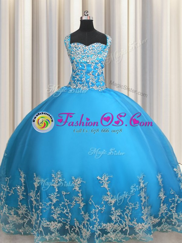 Fuchsia Lace Up Sweetheart Beading and Appliques Sweet 16 Dress Tulle Sleeveless