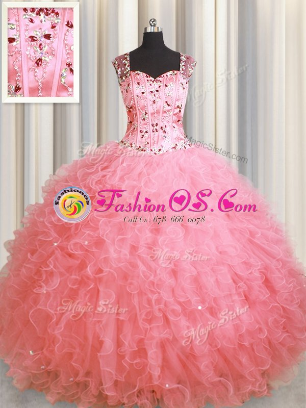 Customized Coral Red Ball Gowns Beading and Ruffles Quinceanera Gown Lace Up Organza Sleeveless Floor Length