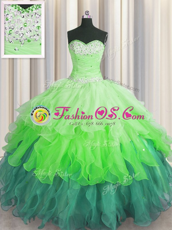 Delicate Sequins Ruffled Floor Length Ball Gowns Sleeveless Multi-color Quinceanera Gowns Lace Up