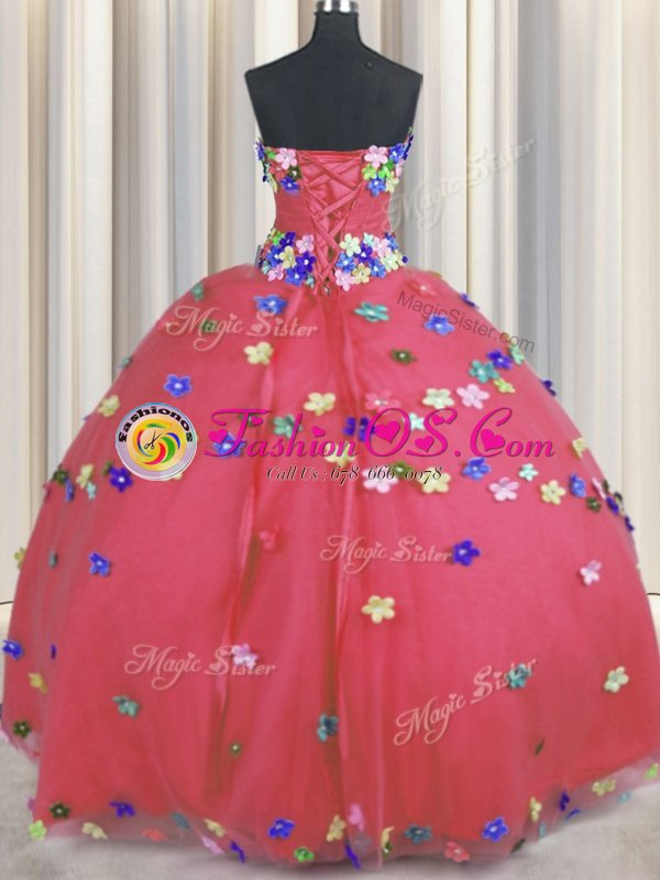 Trendy Floor Length Lace Up 15th Birthday Dress Coral Red and In for Military Ball and Sweet 16 and Quinceanera with Hand Made Flower