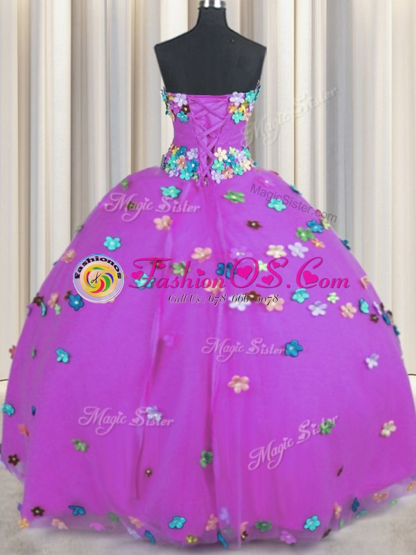Pretty Floor Length Purple Sweet 16 Dress Tulle Sleeveless Hand Made Flower