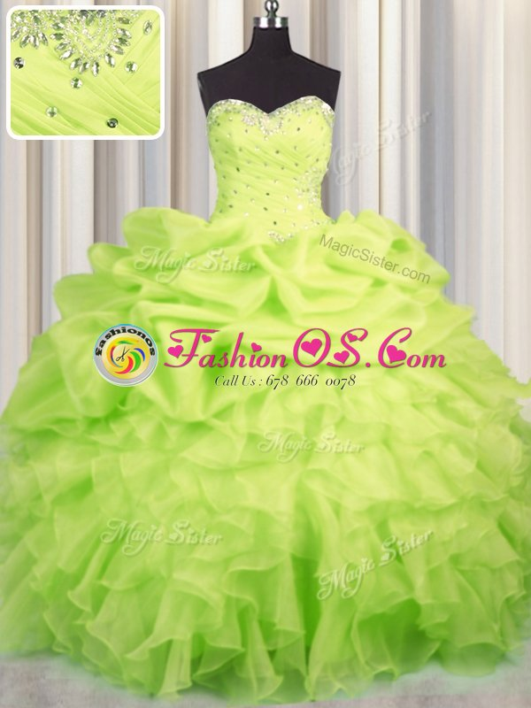 Charming Baby Blue Quinceanera Gowns Military Ball and Sweet 16 and Quinceanera and For with Beading and Ruffles and Ruching and Pick Ups Sweetheart Sleeveless Lace Up